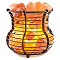 Crystal Allies Gallery Natural Himalayan Salt Wire Mesh Basket Air Purifier with Cord, Light Bulb & Authentic Crystal Allies Info Card