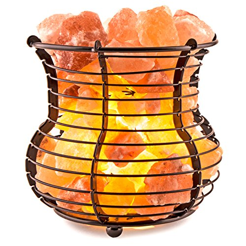Crystal Allies Gallery: Natural Himalayan Salt Wire Mesh Basket Vase Lamp Air Purifier with Cord, Light Bulb & Authentic Crystal Allies Info Card (Himalayan Salt Lamp Tall compare prices)