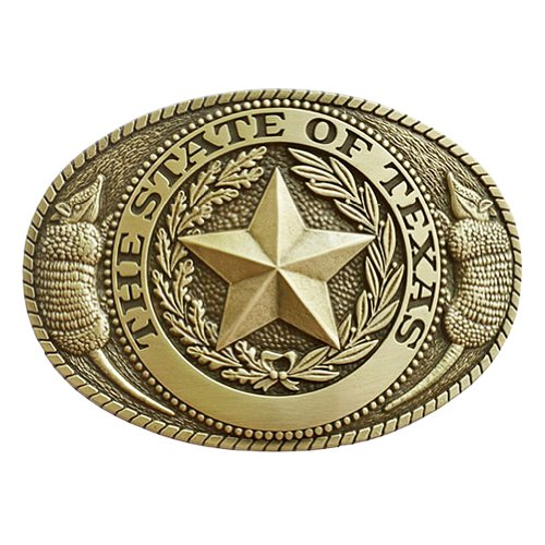 State of Texas Seal with Armadillos Belt Buckle OBM138 ()