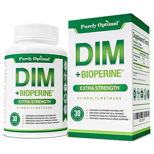 Premium DIM Supplement 250mg Plus BioPerine - Dual Estrogen Balance, Menopause Relief for Women & Hormone Blocker for Men - PCOS, Cystic & Hormonal Acne Treatment, Aromatase Inhibitor - 30 Day Supply