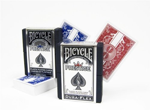 2 Decks Bicycle Prestige Poker Size Playing Cards Red and Blue 100% Plastic (Prestige Bicycle Cards)