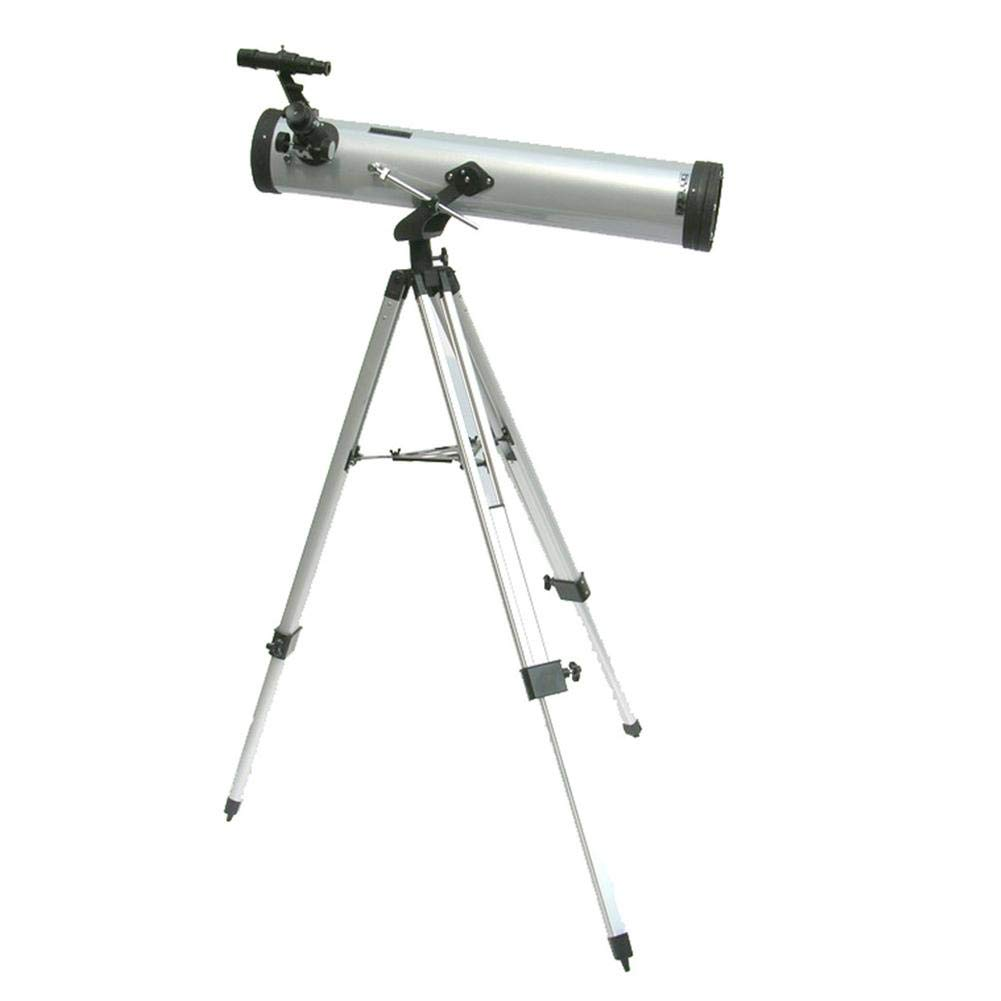 Leiyini Student Portable Telescope Outdoor 1.5 Times Magnification Mirror Telescope Astronomy 2 Times Barlow Large Diameter with Tripod Silver Single Cylinder Telescope by Leiyini (Image #2)
