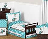 Sweet Jojo Designs Turquoise Blue Gray and White Mod Elephant Boy or Girl Toddler Bed Bedding Kids Childrens Comforter Sheet Set