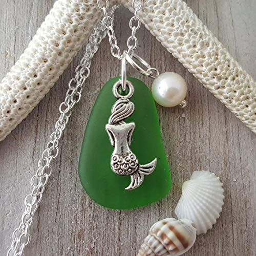 """Handmade in Hawaii, Emerald green"""" sea glass necklace,""""May Birthstone"""", Mermaid charm, freshwater pearl, (Hawaii Gift Wrapped, Customizable Gift Message)"""