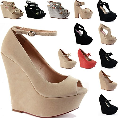 Beige SIZE H HEEL HIGH PLATFORM LADIES Style WEDGE SANDALS ANKLE CHUNKY SHOES STRAPPY WOMENS Suede STRAP Faux w6pBPqq