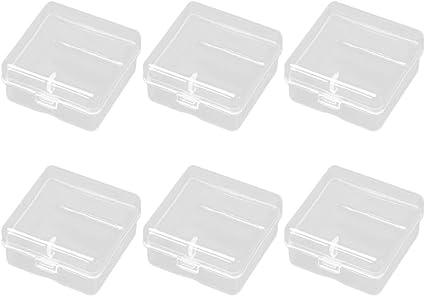 HEALLILY Mini caja de almacenamiento transparente contenedor cuadrado joyero organizador caja de almacenamiento para aula oficina hogar escuela 6 piezas 4x4x2 cm: Amazon.es: Oficina y papelería
