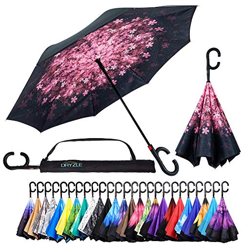 (Reverse Inverted Inside Out Umbrella - Upside Down UV Protection Unique Windproof Brella That Open Better Than Most Umbrellas, Reversible Folding Double Layer (Pink Blossom, 23 Inch X 8 Panels) )