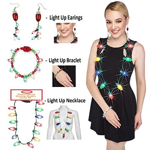 Prextex Christmas LED Light-Up Set Flashing Necklace, Bracelet, and Earrings Adorable Christmas Stocking Stuffers Accessories Set ()
