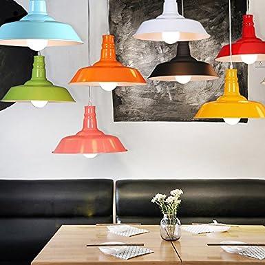 BAYCHEER Lampe Suspensions Lustre Abat-jour en M/étal Style Bol R/étro Industriel Eclairage Decoratif-Rouge