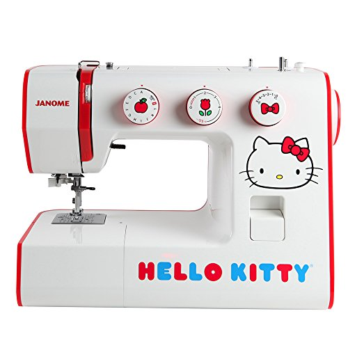 Janome Hello Kitty 15822 Full-Sized Sewing Machine with 22 stitches, interior metal frame, free arm and four presser feet by Janome