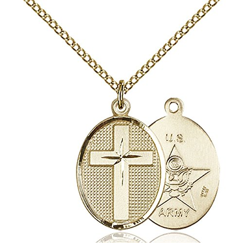 Gold Filled Cross / Army Pendant 7/8 x 1/2 inches with Gold Filled Lite Curb Chain by Bonyak Jewelry Saint Medal Collection