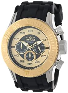 Invicta Men's 14978 Pro Diver Chronograph Black Gold Dial Black Silicone Watch