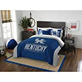 3pc NCAA University Kentucky Wildcats Comforter Full Queen Set, Fan Merchandise, College Basket Ball Themed, Sports Patterned Bedding, Blue, Team Spirit, Team Logo, Grey