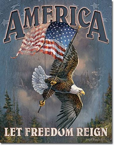 (America Let Freedom Reign Patriotic Eagle Tin Collectible Sign)