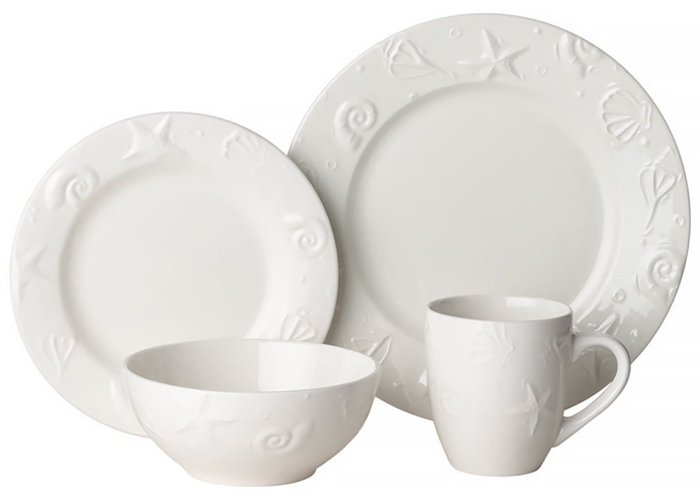 Set Embossed Shell Dinnerware Sets Dinnerware Sets  sc 1 st  Amazon.com & Amazon.com | Thomson Pottery 16-pc. Set Embossed Shell: Dinnerware ...