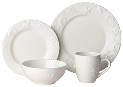 Set Embossed Shell  sc 1 st  Amazon.com & Amazon.com | Thomson Pottery 16-pc. Set Embossed Shell: Dinnerware ...