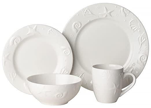 Christmas Tablescape Decor - White embossed seashell 16-pc stoneware set by Thomson Pottery