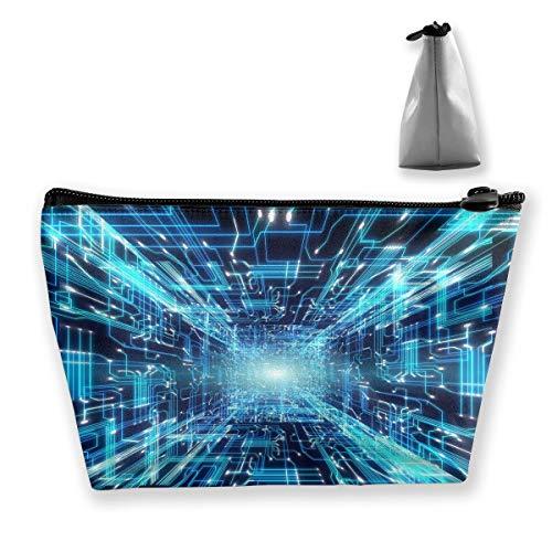 Makeup Bag Trapezoidal Storage Bag Futuristic Line Light Portable Cosmetic Bag Ladies Mobile Travel Bag ()