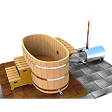 Japanese Wood Ofuro Soaking Tub for 2 - Wood Fired Heater