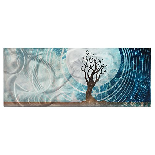 Modern Landscape Painting 'Twilight' - 48x19in. - Large Abstract Tree Design. Professional Wall Art on Single Metal Panel Warm Blue Color Scheme, Midnight, Full Moon, Horizon (Blended Panels Wall Art)