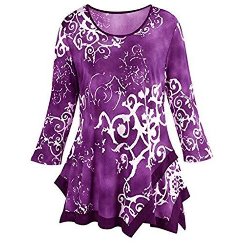 (Gradient Tie Dye Blouse Women Print Long Sleeve Shirt Pullover Irregular Hem Top)
