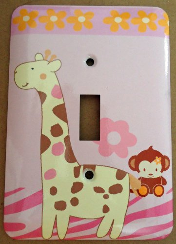 Beige Switchplate - Giraffe Monkey Jungle Single Toggle Light Switchplate Cover (Single Toggle)