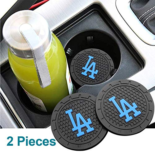 Auto Parts 2PCS 2.75 Inch with American Baseball Team logoTough Auto Cup Holder Mat Anti Slip Coaster Durable Car Interior Accessories for All Brands of Cars (Los Angeles Dodgers)