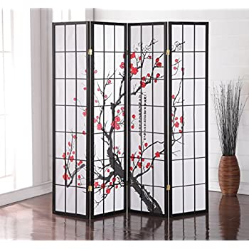 Amazoncom 4 Panel Black Oriental Shoji Screen Room Divider With