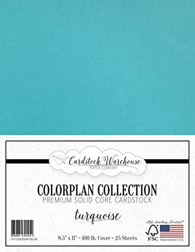 TURQUOISE BLUE Cardstock Paper - 8.5 x 11 inch Premium 100 lb. Cover - 25 Sheets from Cardstock Warehouse -