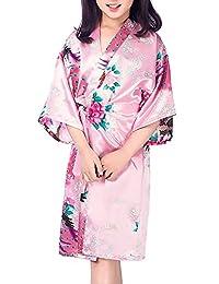 Mobarta Kids' Peacock Satin Kimono Robe Floral Bathrobe for Wedding Spa Party