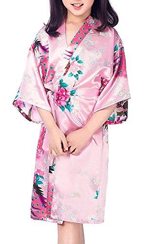 Lucao Girls' Sleepwear Satin Kimono Peacock Flower Robe Bathrobe Children's Nightgown
