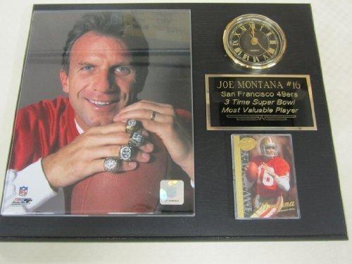 49ers Joe Montana Clock Plaque w/8x10 Super Bowl Rings Photo and Card