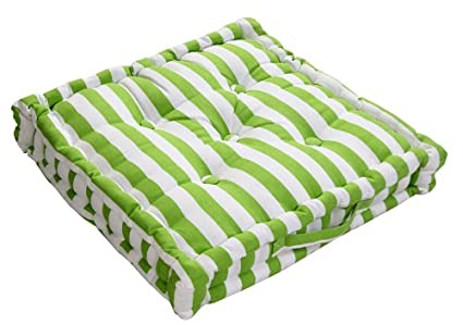 Homescapes Thick Stripe verde Cojín, 100% algodón, cojín de ...