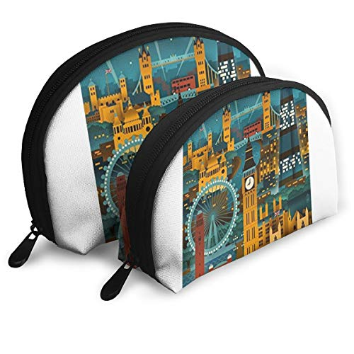 London, England - Retro Skyline Storage Bag Toiletry Bag Multifunction Portable Travel Bags Small Makeup Clutch Pouch With Zipper 2Pcs -