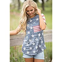 Anglin Womens Print American Flag Sexy Short Sleeve Tops Blouse T-Shirt Tee (XL, Multicolor)