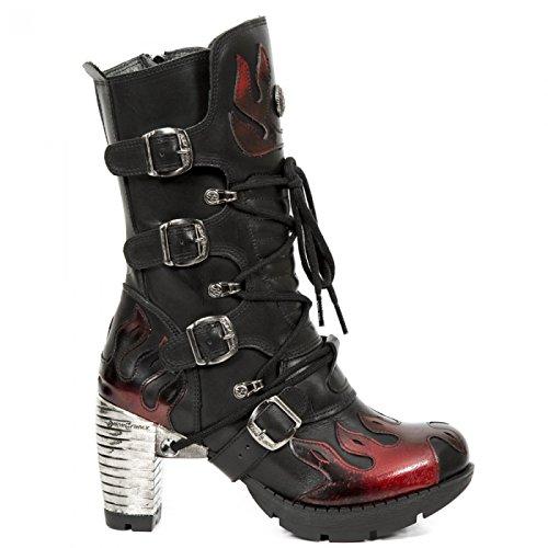 New Rock Laarzen M.tr081-s1 Gothic Hardrock Punk Damen Stiefel Schwarz