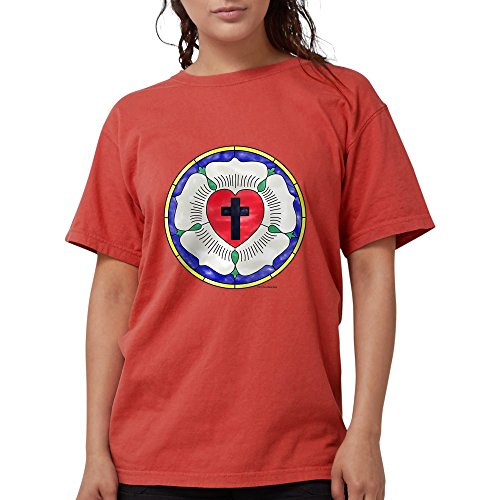 CafePress - Luther Seal Stained Glass Motif T-Shirt - Womens Comfort Colors - Stained Motif Glass