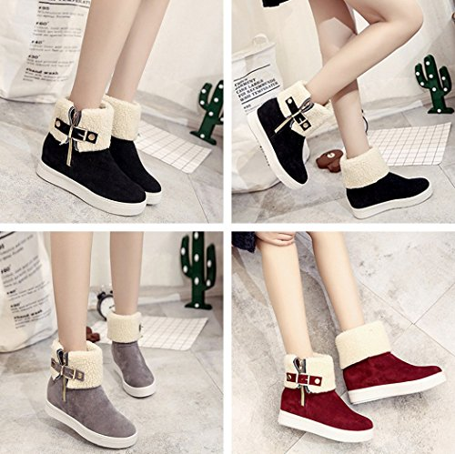 Red Shoes Lined Snow Boots Shoes Woolen Heel Buckle Mid Women Flat Ankle Warm Round Zip Low Boots Calf Suede Faux Faux Gaorui Fur Winter Boots Toe Warm q8AwUZFnn