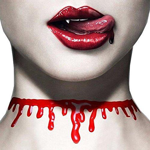 Brosaur Halloween Party Costumes Bloody Necklace Neck Cut Blood Bloody Cosplay Halloween Fright Accessories Men Women Halloween Jewelry ()