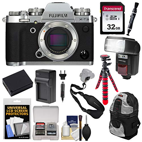 Fujifilm X-T3 4K Wi-Fi Digital Camera Body (Silver) with 32GB Card + Battery & Charger + Backpack + Flash + Tripod + Kit