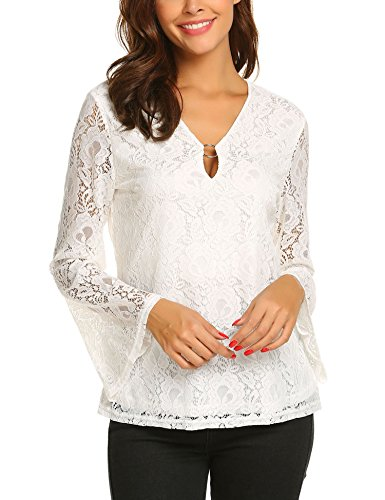 - Women's Gold-Tone Ring Neck Long Bell Sleeve Blouse Casual Tops White XXL