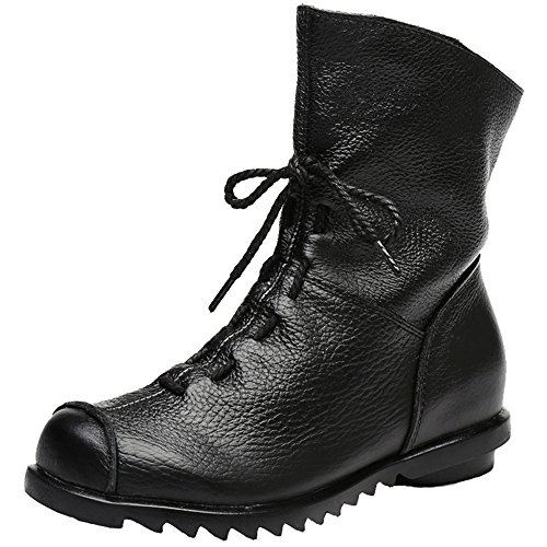 ZHIHUI Women's Genuine Leather Casual Soft Flat Boots (9 B(M) US, Black)