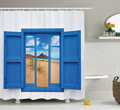 House Decor Shower Curtain Set, Sand View From Window Of Spain Beach Distant Hill Plants Sand Touristic, Bathroom Accessories, 60X72 Inch by Pillowcase