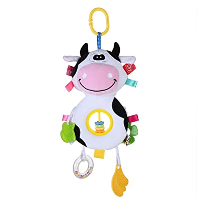 Bigsweety Baby Plush Ring Abacus Beads Rattle Hand Stick Baby Toy Children's Gift Cute Cartoon Plush Rattle,Abacus Cow: Home & Kitchen