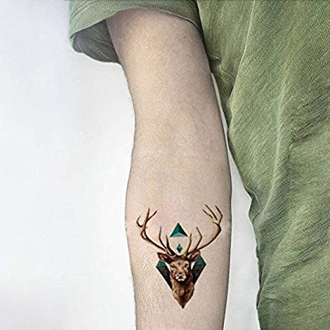 Oottati Tatuajes Temporales Ciervo (2 hojas): Amazon.es: Belleza