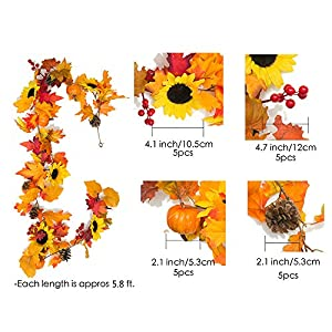 YXMYH Fake Fall Maple Leaf Garland Hanging Vine-Artificial Berries Sunflower Pumpkin Autumn Decoration for Wedding Party Thanksgiving Dinner Fireplace Door Frame Doorway Backdrop Decor,5.8 Feet 2