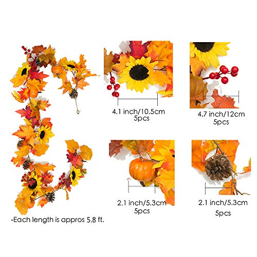 YXMYH-Fake-Fall-Maple-Leaf-Garland-Hanging-Vine-Artificial-Berries-Sunflower-Pumpkin-Autumn-Decoration-for-Wedding-Party-Thanksgiving-Dinner-Fireplace-Door-Frame-Doorway-Backdrop-Decor58-Feet