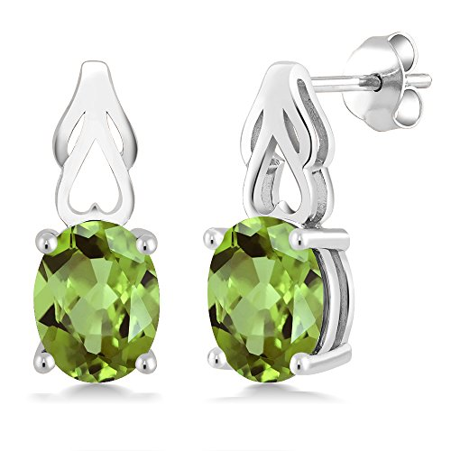 9x7 Oval Earrings (Sterling Silver Green Peridot Gemstone Birthstone Women Earrings (2.70 cttw, 9X7MM Oval))