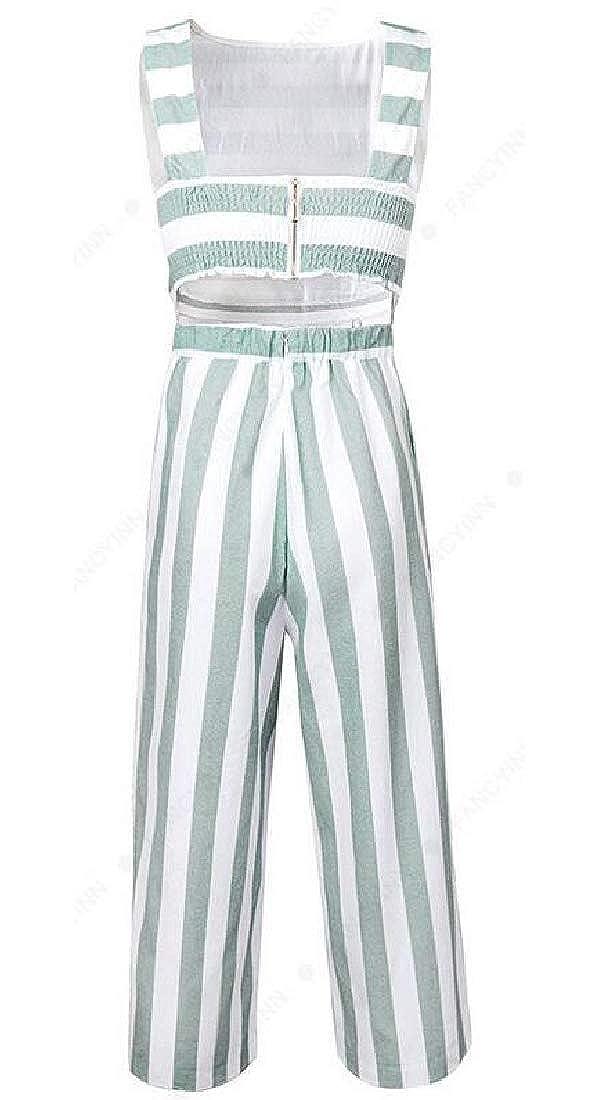 Fubotevic Womens Stripe Print Casual Cotton Linen Contrast Sleeveless Wide Leg Palazzo Pants Jumpsuit Romper