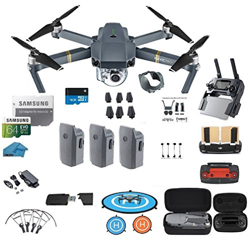 DJI Mavic Pro Drone - Quadcopter - with 3 Batteries - 4K Professional Camera Gimbal - Bundle Kit - with Must Have Accessories